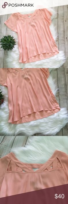 Maeve | Peach Tricut Blouse Maeve Peach Tricut Blouse. Super cute & trendy! Perfect for summer! Good condition, see photos for one tiny flaw on left shoulder. 100% rayon Size 6 Bust: 18in Length: 23.5in Offers welcome! d Anthropologie Tops Blouses