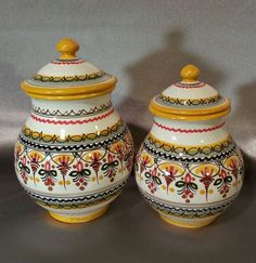 Vintage Spanish Hand-painted Pottery Canisters with lid Set of 2 - Signed