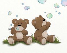5 x 7 Childrens Art Teddy Bear Print Childs by NaturesHeavenlyArt