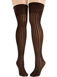 Buttoned Up Ribbed Thigh High Socks in Cocoa