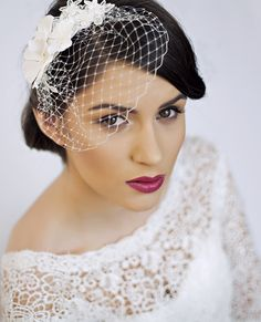 wedding hairstyles with birdcage veil - Google Search