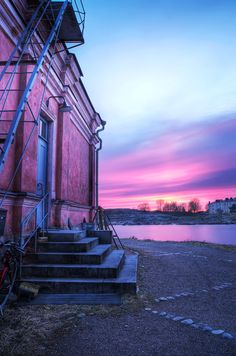 HDR photo of Purple Sunset in Suomenlinna in Helsinki, Finland. What A Wonderful World, Beautiful World, Beautiful Things, Helsinki, Purple Sunset, Exposure Photography, Shades Of Purple, Pink Purple, 50 Shades