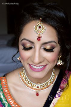 sangeet hair and makeup, pink and gold smokey eye, smokey eye, polki diamonds, pearls, indian bride, dulhan, sonia c