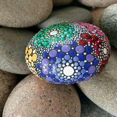 Mandala Stone Hand Painted Multi-Mandala by ChelseyLakeArt
