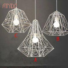 EMS New Wrought Iron Bird Cage Pendant Light Diamond Modern Brief E27 Lamp Holder Apply In Living Room/Bedroom