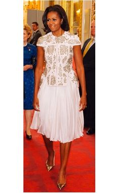 Michelle Obama in a @J. Mendel Dress and Manolo Blahnik Shoes #redcarpet #fashion #style