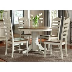 Liberty Furniture Springfield Dining 5 Piece Pedestal Table & Chair Set