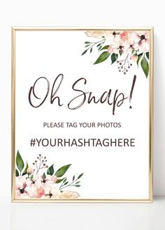 Hashtag wedding sign printable, boho instagram sign, social media signs from Pink Summer Designs on Etsy