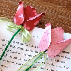 Belle's Valentine Bookmarks - three upside down heart shapes bent & curled make the rose on pipe cleaner stems - easy & cute for Mother's Day, Valentine's Day or Teacher Appreciation