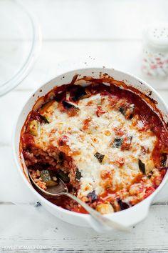 Zapiekanka z ryżem, warzywami i serem