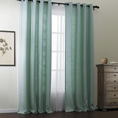 """TWOPAGES Classic Solid Green Polyester/Cotton Blend Grommet Top Eco-friendly Curtain 84Wx63""""L (One Panel) Multi Size Available Custom *** Find out @"""