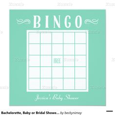 Bachelorette, Baby or Bridal Shower Bingo Cards