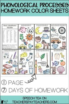 Need homework for your phonology students? Students will love to color daily pictures as they practice their speech sounds. Several phonological processes are targeted, including: final consonant deletion, gliding, weak syllable deletion, cluster reduction, and many many more! Speech homework doesn't have to be boring, it can be fun! Phonological processes activities your students will love. Click for more info. Preschool Speech Therapy, Articulation Therapy, Articulation Activities, Speech Therapy Activities, Speech Language Pathology, Speech And Language, Phonics, Language Arts, Phonological Processes