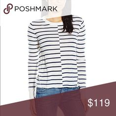 """PAIGE 'Allie' Stripe Sweater Ivory Navy Stripe An exposed front seam staggers the bold stripes of a merino wool-blend sweater that marries a refined design aesthetic with laid-back styling. - 24"""" length (size Medium) - Slips on over head - Crewneck - Long sleeves - 50% merino wool, 50% acrylic - Hand wash cold, dry flat PAIGE Sweaters Crew & Scoop Necks"""