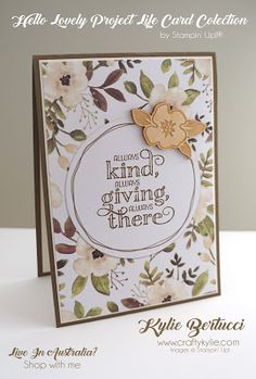 Stampin' Up! Australia: Kylie Bertucci Independent Demonstrator: Project Life® by Stampin' Up!® Hello Lovely Card Collection