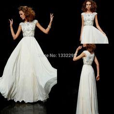 Fashionable Glamorous White Chiffon A-Line Beaded O-Neck Custom Made Court Train with Cap Sleeves Long Evening Dress 2015