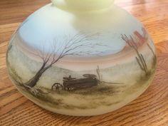 Fenton Lamp Hand Painted by Michael Dickinson Desert Cactus Wagon Scene Vintage | eBay