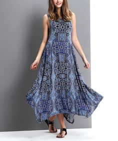 Love this Blue Paisley Scoop Neck Handkerchief Maxi Dress by Reborn Collection on #zulily! #zulilyfinds