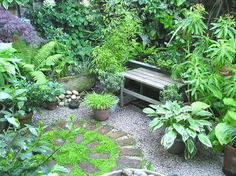 The shady 'Kitchen Corner', June Just the kind of private corner I'd like to create in the garden, in one of the more sheltered areas. Love the planting and the shapes. Might want a more comfortable seat though and a small space to do a spot of yoga.