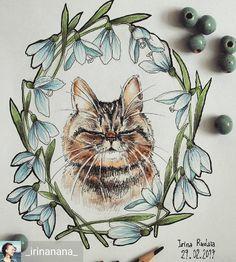 Repost from @_irinanana_ -  Дорогие друзья!До 8 марта буду выкладывать много котиковпотому что участвую в конкурсе #кот_на_конкурс от @n_a_l_i_v_k_a @art_pavlova @peredvizhnik .К сожалению у меня не живёт котикпотому что живут две птичкино этого мордатенького нашла здесь @torachanthecat.#irinarudaia_drawing #cat #drawing #touchmarkers #leuchtturm1917 #веснариум_цветныекарандаши #веснариум #веснариум_задание4 #подснежники - #regrann