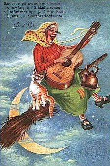 Norwegian Easter Witch: PASKE -What an interesting witch!.  / Scandinavian EASTER Witch. She always has a copper kettle, her cat, wears a kerchief, and can fly on her broom. They all meet -- the women who are older w/their cats  kettles  brooms.