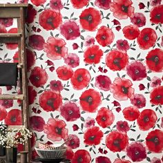Bathroom wallpaper - Poppies Wallpaper in Red design by Graham & Brown