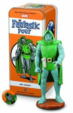 "Dark Horse Deluxe Classic Marvel Characters: The Fantastic Four #5: Dr. Doom Statue by Dark Horse Deluxe. $49.99. Limited to 650 numbered pieces. Includes a pin-back button and character booklet. Measures 5 1/2"" tall. Packaged in its own tin box. A syroco-style statue of the classic Marvel Comics villain. From the Manufacturer                Victor von Doom, aka Dr. Doom, is the true archenemy of the Fantastic Four and is one of the most recognizable villains in the Marve..."