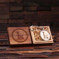 "Custom Acrylic Ivory ""L"" Monogram Key Chain w/ Box"