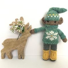 """Gudrun Dahle on Instagram: """"🌼 Here is an elf kid with a flower embroidered on his sweater. 🌼 Soon I'll be looking at snowflakes and Christmas tree embroidery! 🌼 Yup,…"""""""