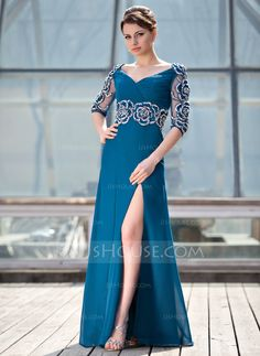 A-Line/Princess V-neck Floor-Length Ruffle Beading Flower(s) Split Front Zipper Up Sleeves 1/2 Sleeves No 2014 Ink Blue General Plus Chiffon Mother of the Bride Dress