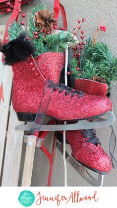 DIy Christmas Decor Glittered Ice Skates and decorated sled   Magic Brush   This easy winter decor project makes a good craft night / Girls Night Out   Christmas Decorating Ideas