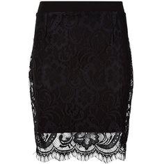 Black Lace Mini Skirt (23 BAM) ❤ liked on Polyvore featuring skirts, mini skirts, lace mini skirt, elastic waist skirt, lacy skirt, short skirts and lace miniskirt