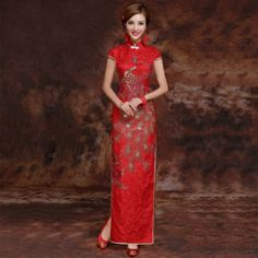 Red Brocade Gold Pheonix Embroidery Traditional Qipao Chinese Wedding Dress