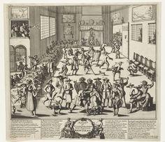 Anonymous | Spotprent op een Menniste Bruiloft, ca. 1700, Anonymous, 1690 - 1710 | Spotprent op een Menniste Bruiloft. Grote kamer waarin alle bezoekers van een bruiloftsmaal getroffen worden door acute diarree, met alle gevolgen van dien. Linksvoor aan de tafel (nr. 1) de boosdoener die de purgeerboontjes in het eten heeft gedaan. Op de voorgrond tilt een dame haar rokken hoog op. In het onderschrift de legenda 1-27, waarin melding wordt gemaakt van Menno Simons, Jan van Leiden en Bernard…