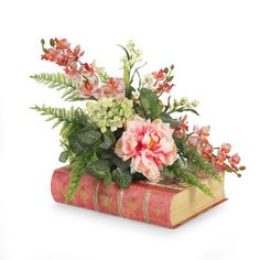 Floral Arrangement on Book Silk Floral Arrangements, Table Arrangements, Floral Centerpieces, Fake Flowers, Silk Flowers, Beautiful Flowers, Ikebana, Creation Deco, Floral Wreath