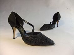 Vintage 1960s Shoes // The Vixen Vivant Black Glitter by FabGabs, $45.00