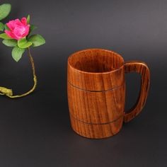 1Pcs Beer Cups With Handle Practical Wooden Drinking Cups Classical Milk Coffee Tea Cup Handmade Home Bar Accessories