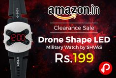 Amazon #ClearanceSale offers #Drone Shape #LED #Military #Watch by #SHVAS Just at Rs.199. Original New Generation Concept watch. One of its kind. DRONE Shape Military LED Watch, Made from the best Quality, High Precision raw materials & movement, to provide the user with easy viewing of time, Elegant display & looks makes this your perfect companion in parties & other social do's. 90 Days Warranty…