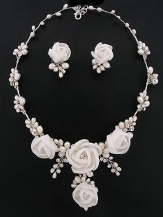 Bridal Ivory White Pearl Crystal & by QuintessentialBling, $109.99 Wedding Jewelry, pearls, bridal party gifts, beautiful pearl necklace and earring set, flower jewelry
