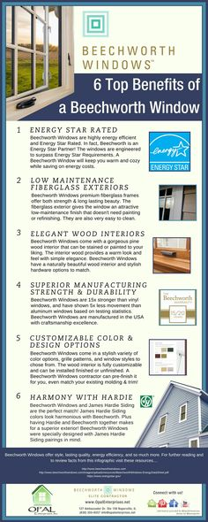 Infographic of the top 6 benefits of Beechworth Windows, provided by Opal Enterprises.