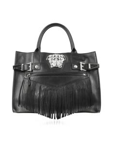 c2b5c2a0aad9 Versace Medusa Logo Black Leather Handbag w Fringes - oh yeah! Black  Leather Handbags