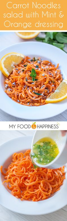 Carrot Noodles salad with Mint & Orange dressing! Super flavourful and fresh salad, made more fun with spiralized carrots. A great recipe idea to make with your spiralizer! Perfect as a side or a light summer lunch.