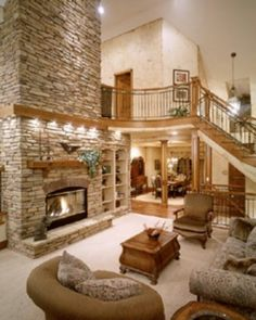 I want a big open room with an open staircase and a fabulous fireplace!
