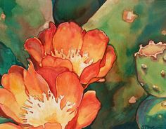 Orange Cactus Watercolor Art Print Southwest Desert by Susan Faye on Etsy