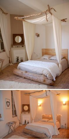 DIY canopy bed made of driftwood by Cote Maison. Elodie, the decorator of this room, p .DIY canopy bed made of driftwood by Cote Maison. Elodie, the decorator of this room, picked up driftwood after Canopy Bed Curtains, Diy Canopy, Curtain Over Bed, Bed Canopy With Lights, Wooden Canopy Bed, Bed Canopies, Canopy Bed Frame, Bed Lights, String Lights