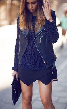Fashion trends / Leather jacket   black sweater   black skirt