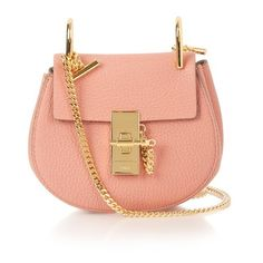 Chloé Drew nano leather shoulder bag ($999) ❤ liked on Polyvore featuring bags, handbags, shoulder bags, light pink, leather shoulder bag, chain shoulder bag, red leather shoulder bag, red leather purse and chloe purses
