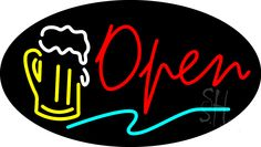 Beer Open Animated Neon Sign 17 Tall x 30 Wide x 3 Deep, is 100% Handcrafted with Real Glass Tube Neon Sign. !!! Made in USA !!!  Colors on the sign are Red, Yellow, White and Turquoise. Beer Open Animated Neon Sign is high impact, eye catching, real glass tube neon sign. This characteristic glow can attract customers like nothing else, virtually burning your identity into the minds of potential and future customers.