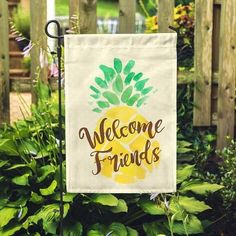 "Welcome Friends Pineapple Garden Flag 12.5""x18"""