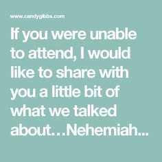 If you were unable to attend, I would like to share with you a little bit of what we talked about…Nehemiah, wall repairing, and taking back territory from the enemy…